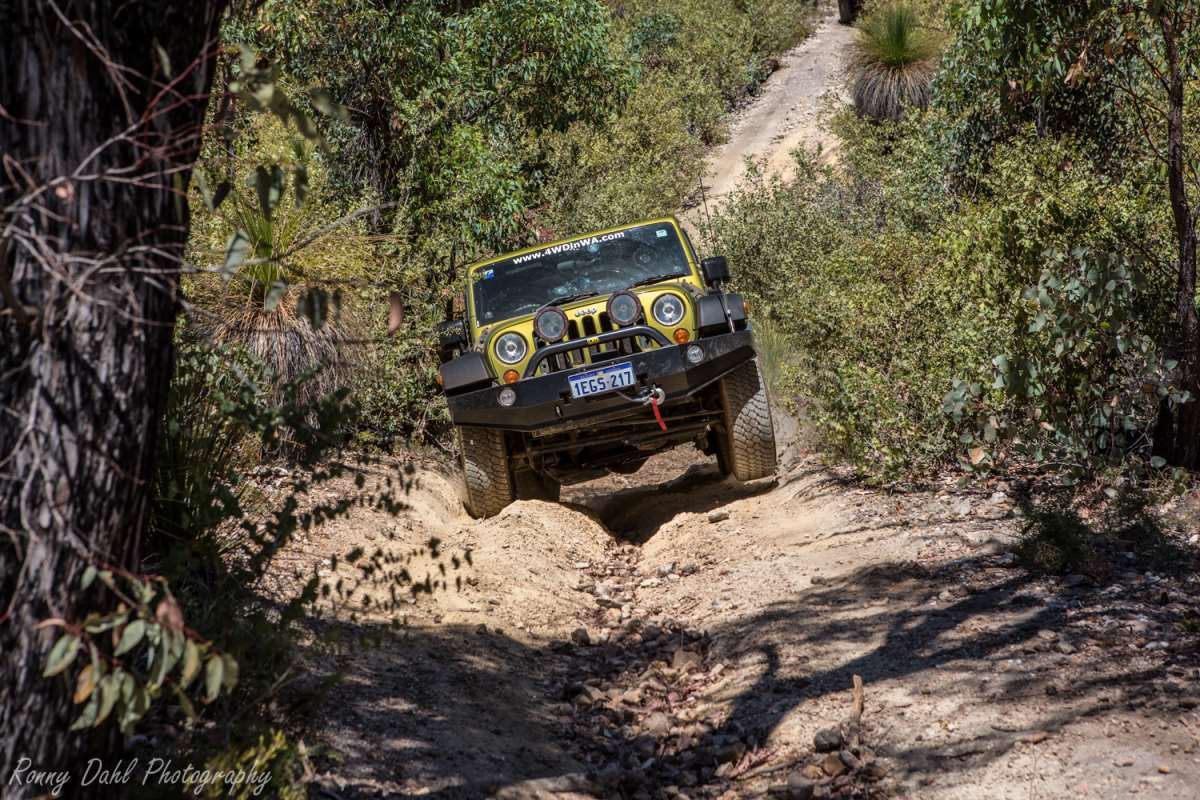 Jeep Wrangler enjoying the never ending steep parts of the track at Julimar State Forest WA