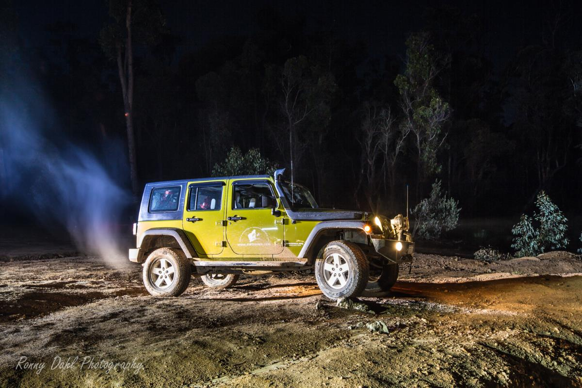 Jeep Wrangler at night on the Powerline.