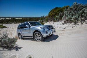 Pajero in the sand dunes.