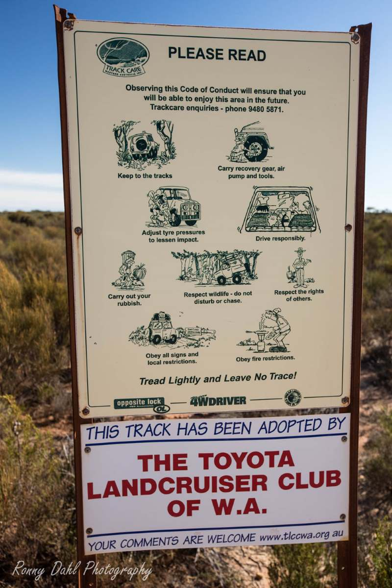 Track care sign at the Holland Track, Western Australia.