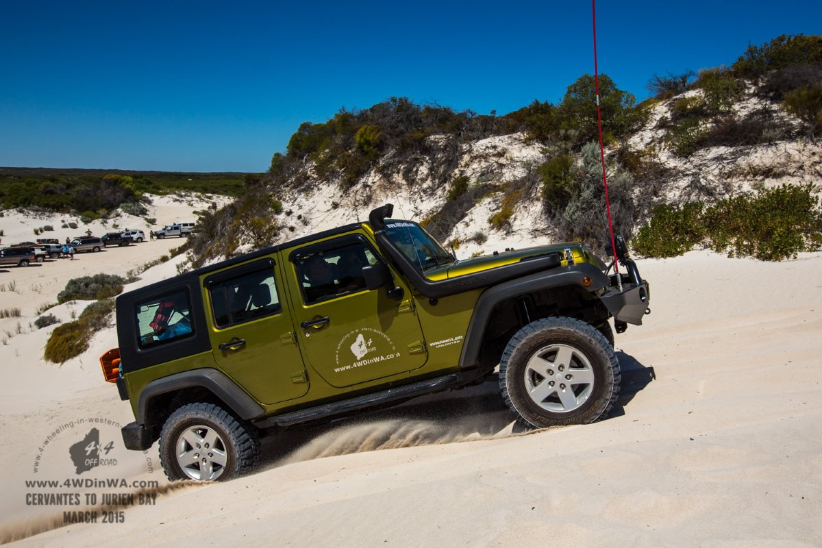 Jeep Wrangler JKU in the sand dunes,