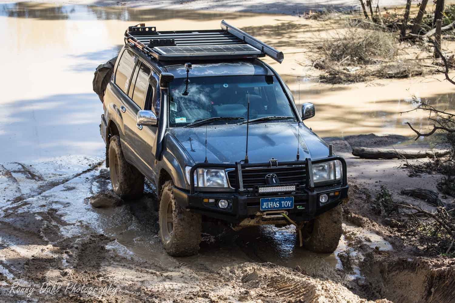 Series 105, 1998 Toyota Land Cruiser on the Power Line Track.