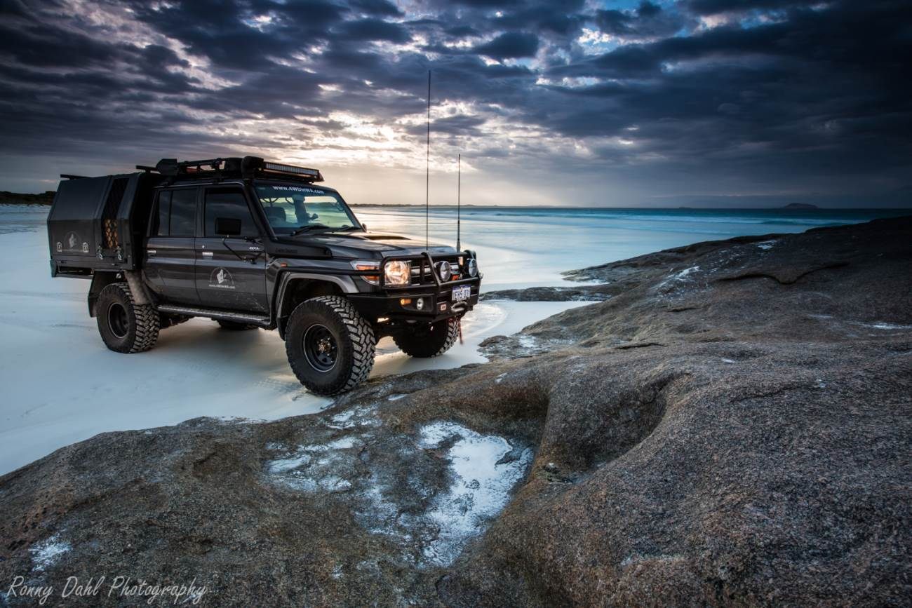 79 series cruiser on the beach at sunrise.