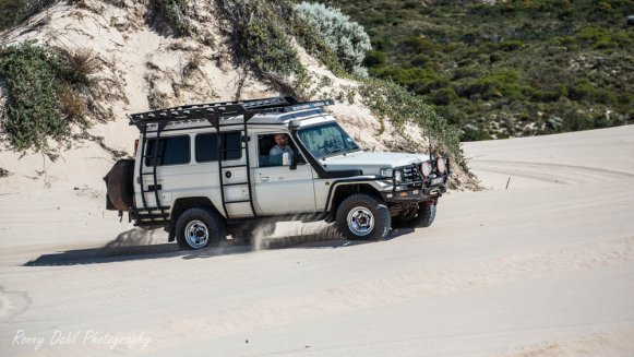 Toyota LandCruiser, Troopy, on the beach in Western Australia.