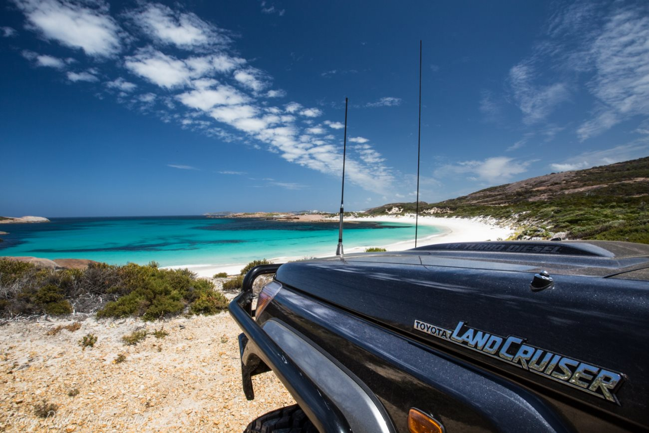 Toyota Cruiser overlooking the beach.