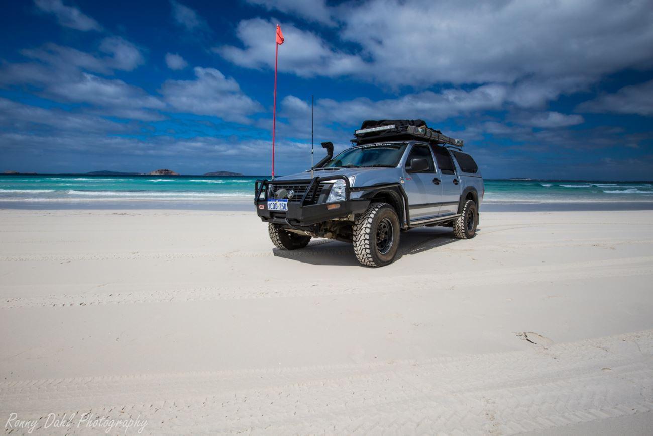 The Holden Rodeo at the beach.