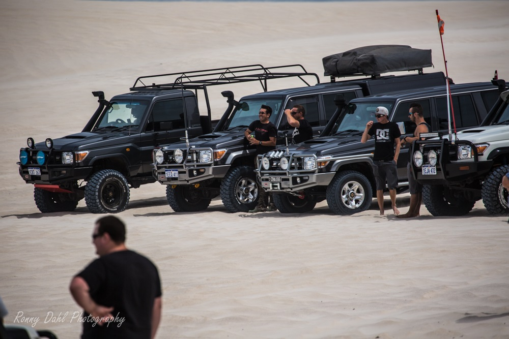 70 Series Land Cruisers at Lancelin, Western Australia.
