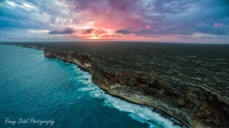 Sunset over the cliffs, Western Australia.