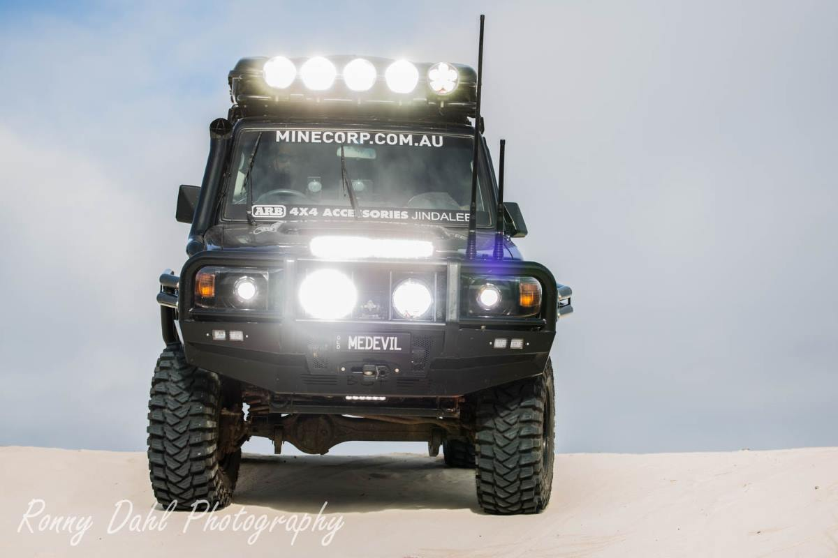 76 Series Landcruiser, Modified. In the sand dunes, Western Australia.