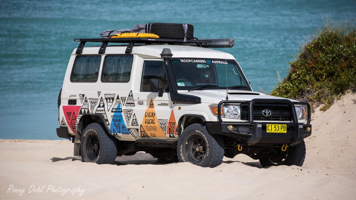 Toyota Landcruiser Troop Carrier.