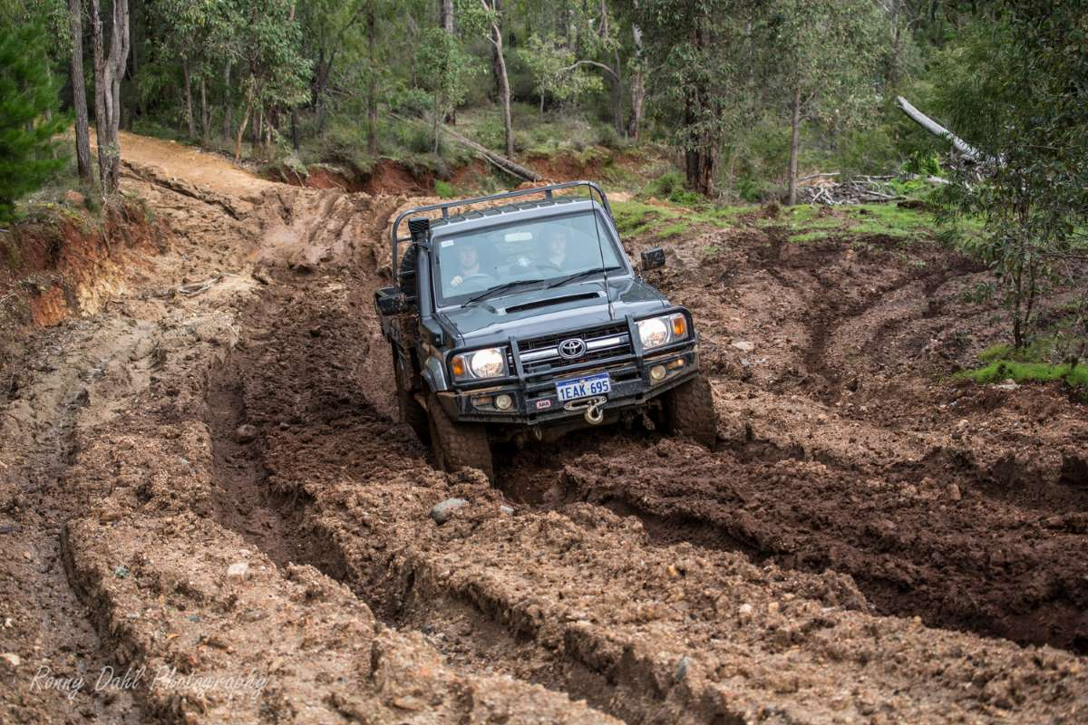 79 series LandCruiser in mud.