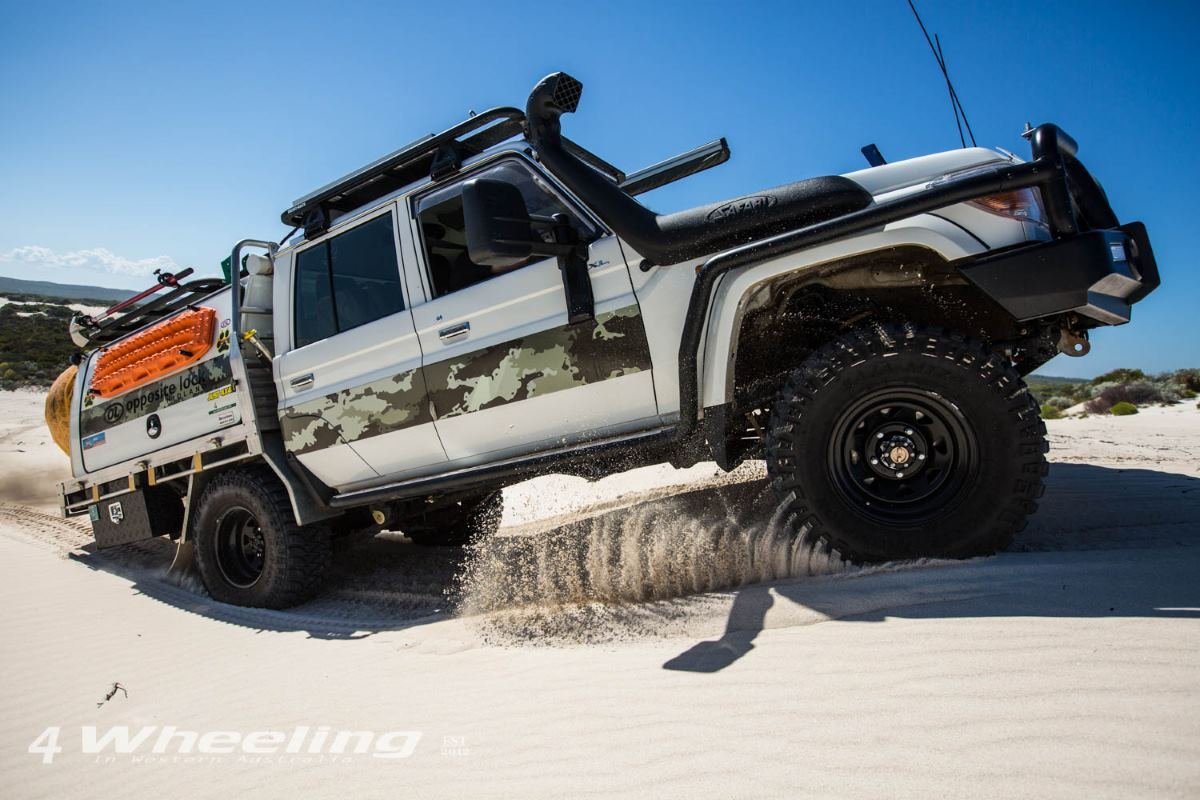 79 Series V8 Dual Cab, Modified. In the sand dunes in Western Australia.