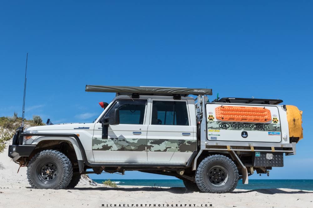 79 series Toyota Landcruiser, on the beach in Western Australia.