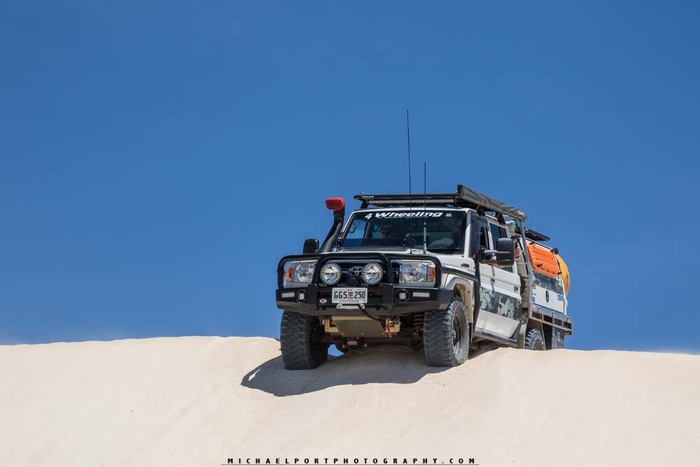 79 series Toyota Landcruiser, in the sand dunes, Western Australia.