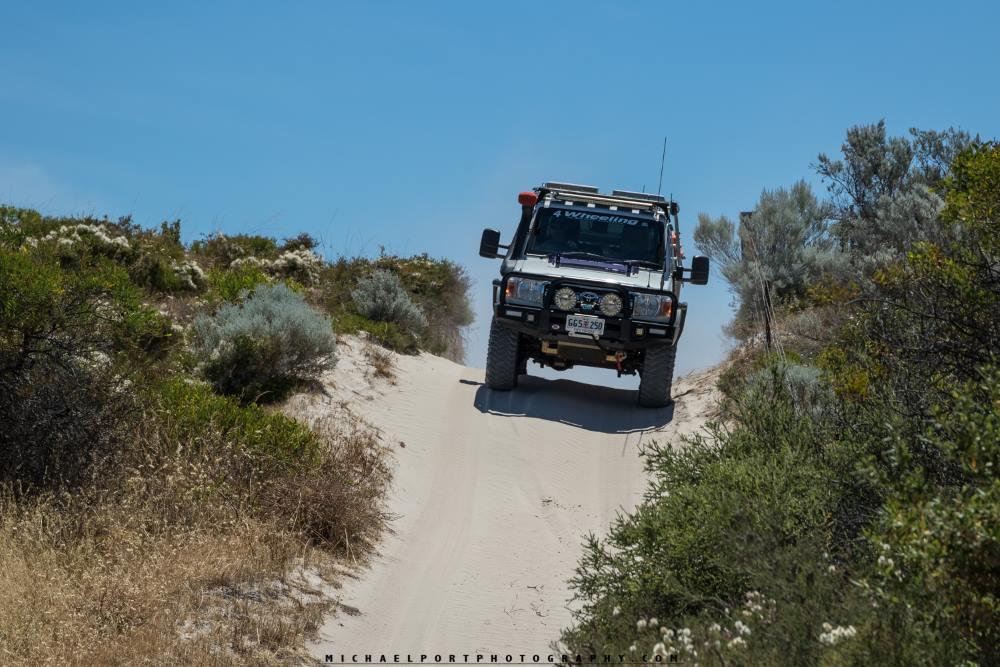 79 series Toyota Landcruiser, on a sand track, Western Australia.