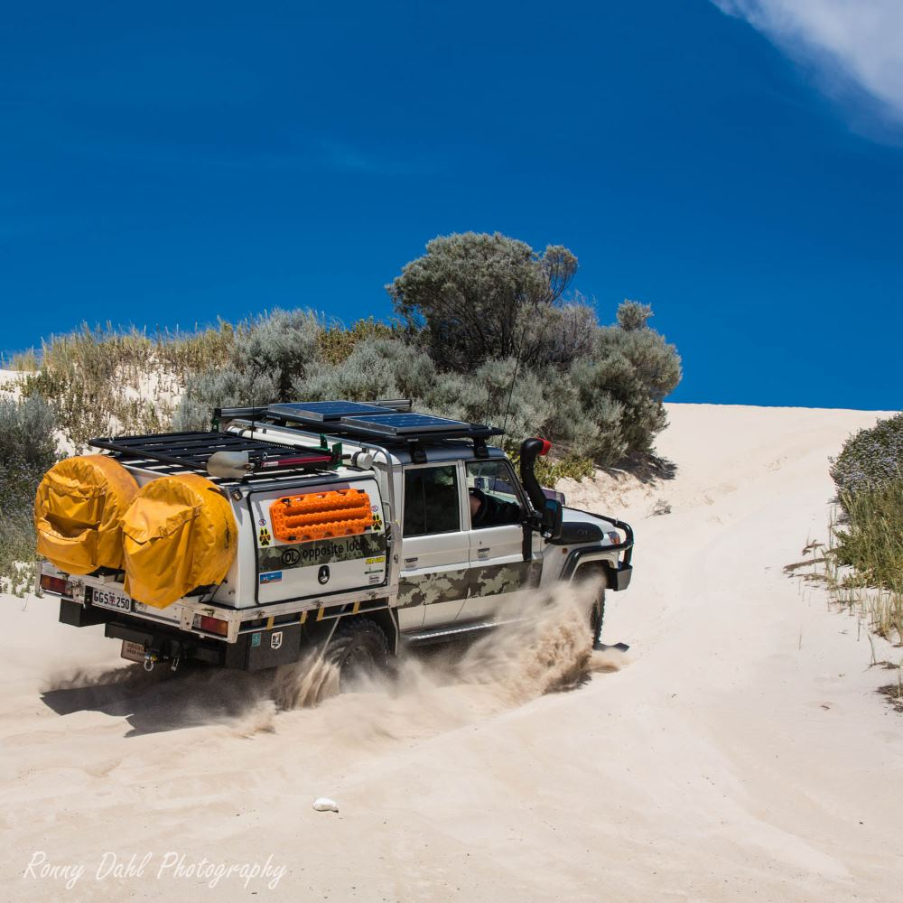 79 series Toyota Landcruiser, in the sand dunes, Western Australia.
