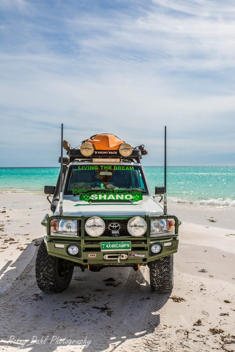 79 Series Landcruiser on beach at Wedge Island, Western Australia.