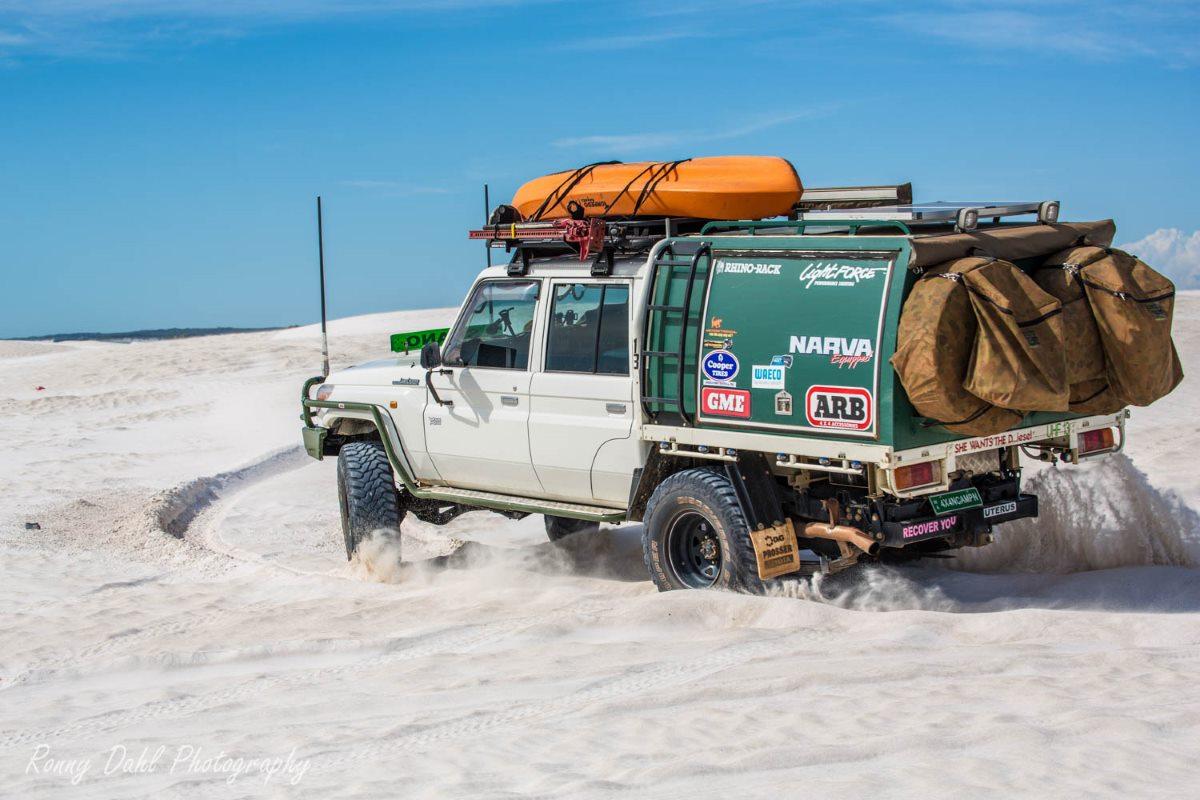 Toyota LandCruiser in the sand dunes.