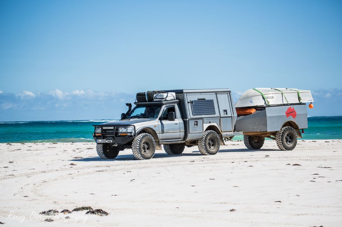 Toyota Custom 80 series Landcruiser on the beach.