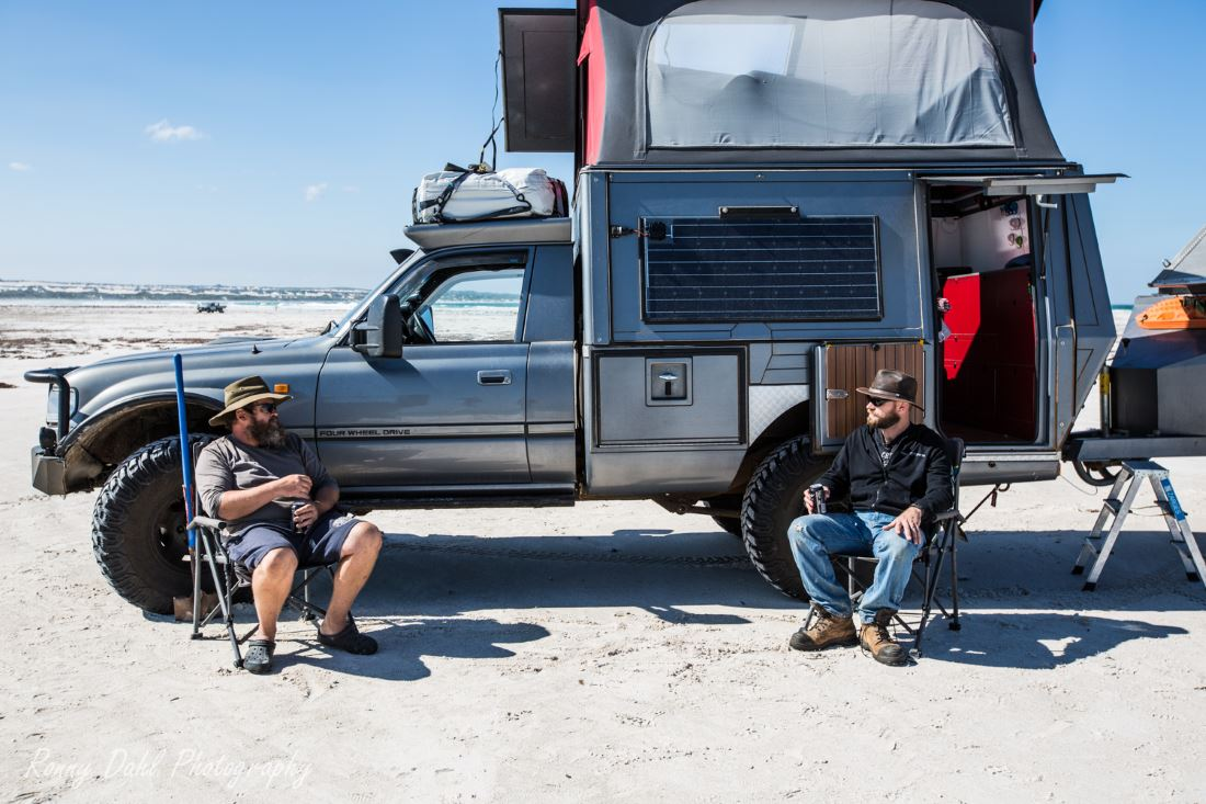Toyota Custom 80 series Landcruiser on the beach with Ronny Dahl and Marcus.