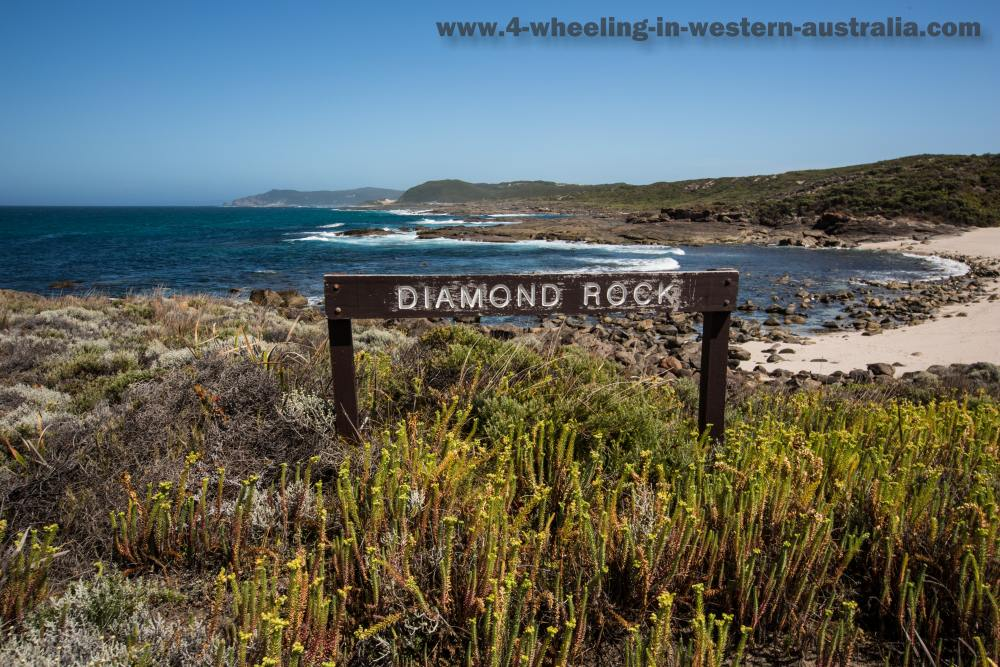 Diamond Rock sign Peaceful Bay.