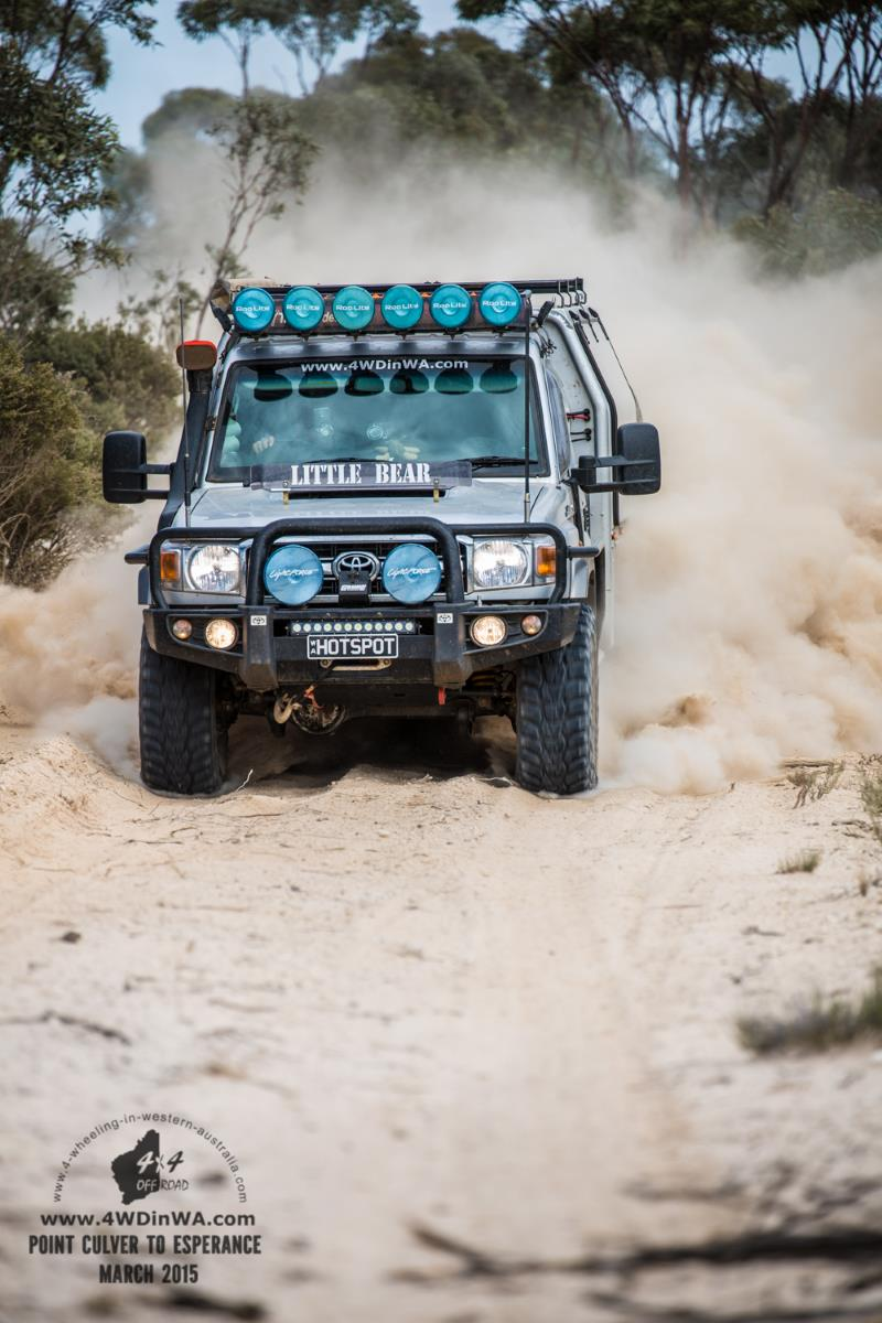 79 series Landcruiser in White Bull dust, Western Australia.