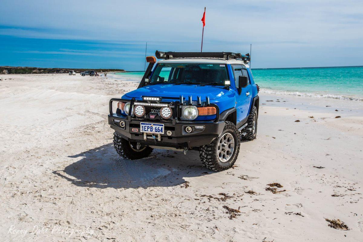 Modified Toyota FJ Cruiser on the beach at Wedge, Western Australia.