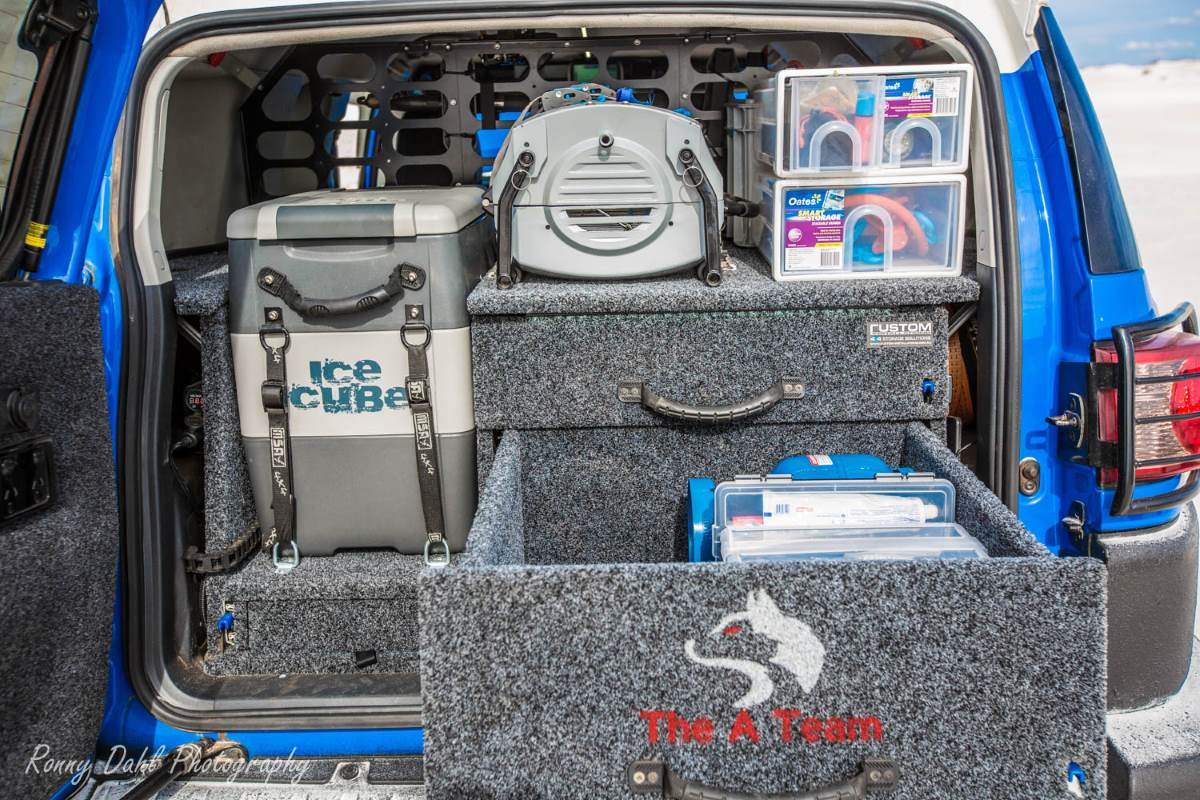 Inside the Toyota FJ Cruiser.