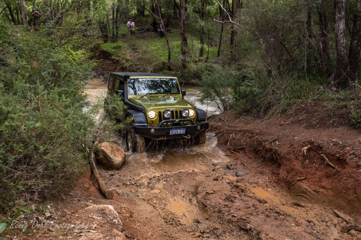 JK Jeep Wrangler river crossing.