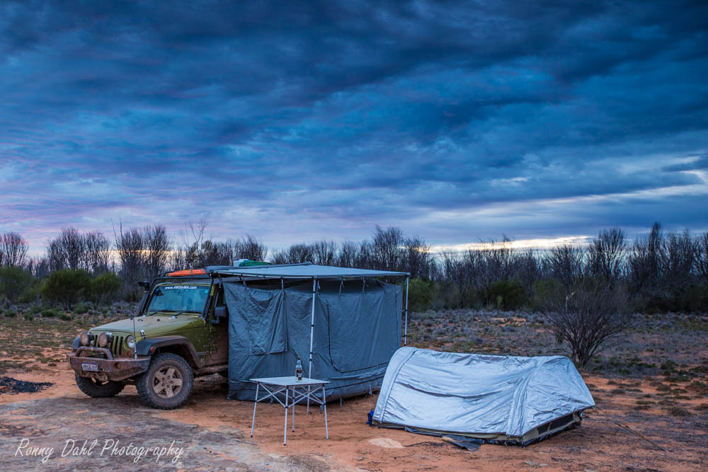 Jeep Wrangler camping in the outback.