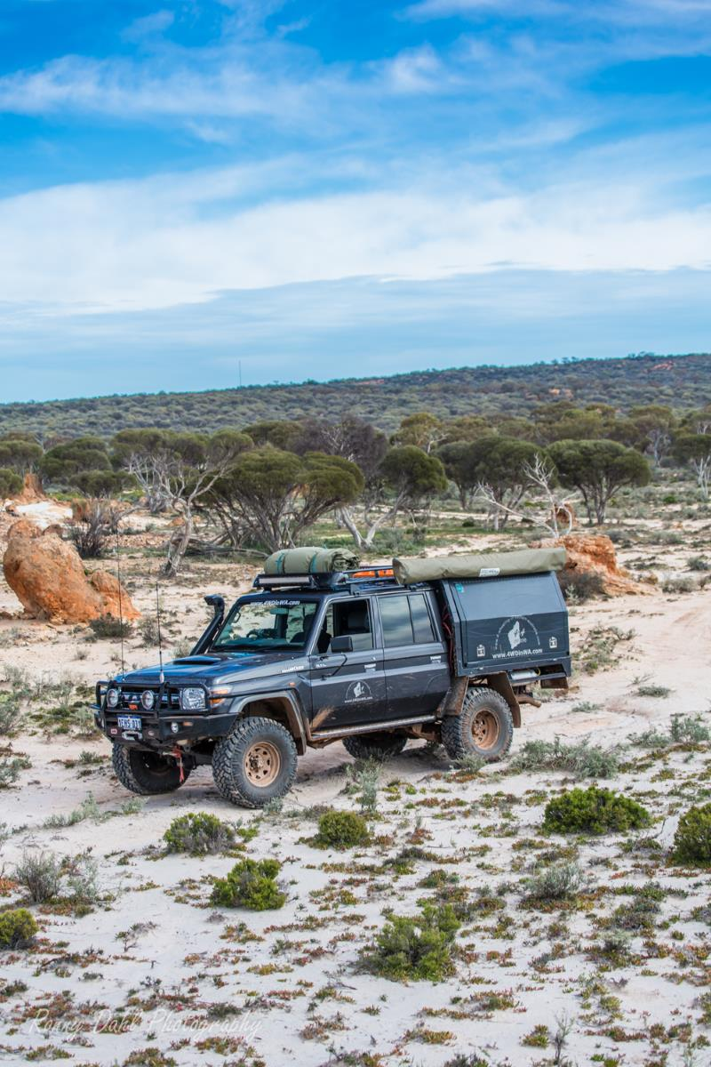 Toyota Landcruiser in a remote outback location.
