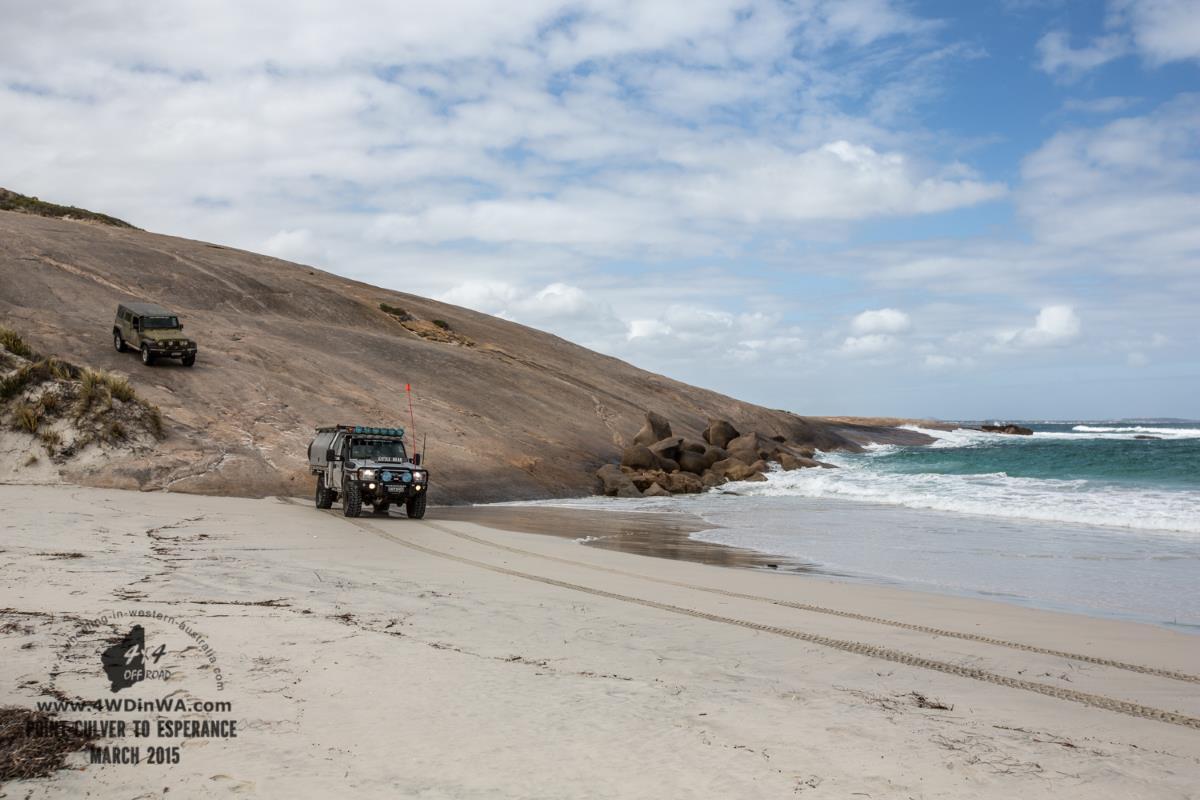 Toyota Land Cruiser and Jeep Wrangler at Wylie Head, Western Australia.