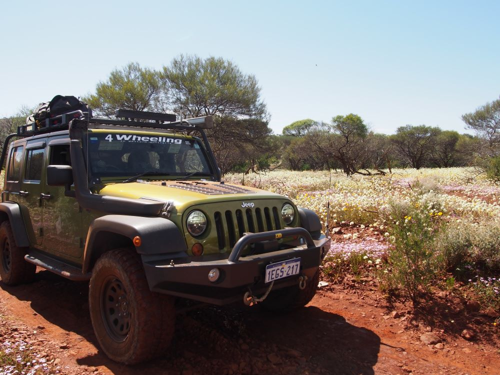 Jeep Wrangler JKU in the Western Australia outback.