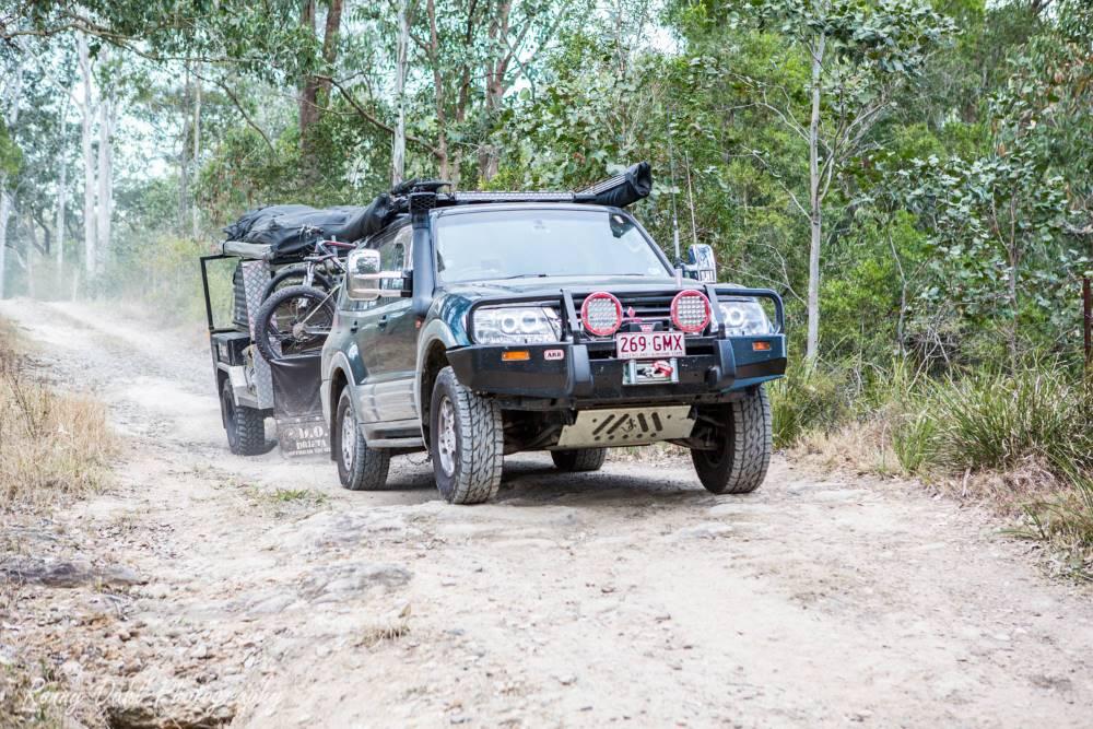 Mitsubishi Pajero with a trailer