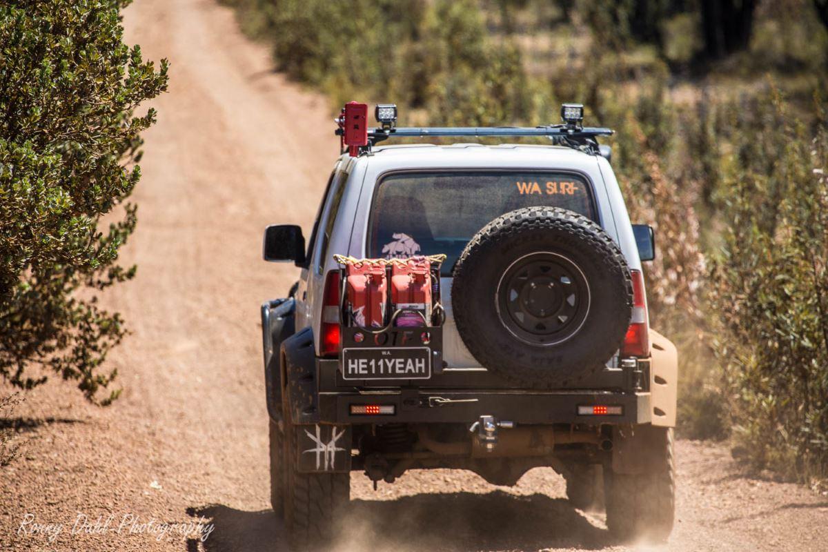 The Suzuki Sierra Jimny from behind.