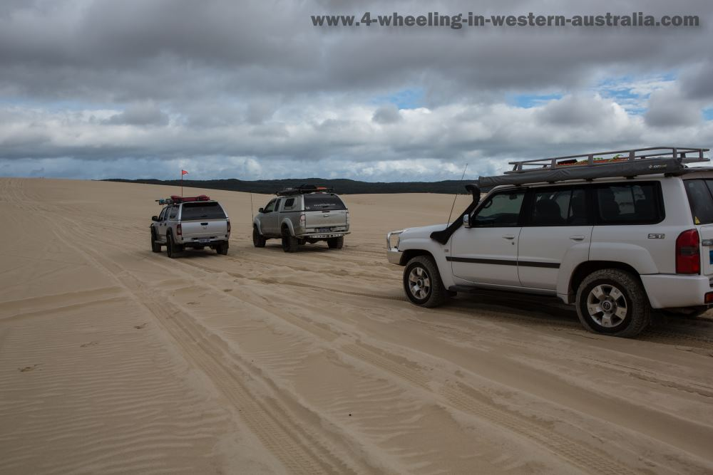 Yeagarup Sand Dunes, 4x4's within the marked path.