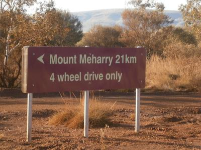 Juna Downs access road signage to Mount MeHarry.