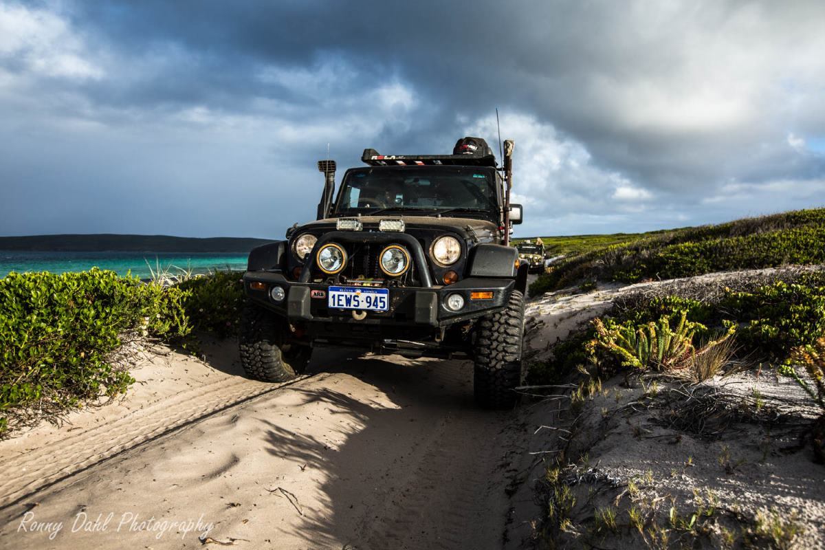 Jeep JK Wrangler on a beach track somewhere in Western Australia.