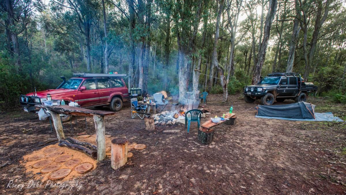 Camping in a Toyota Landcruiser 80 series Sahara.