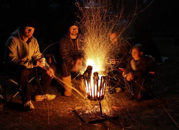 Bush camp log fire.