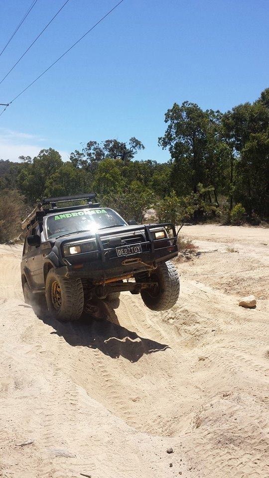 80 Series Landcruiser at the power line track.