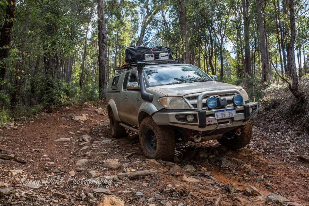 Deluxe steel bull bar on a Toyota Hilux.