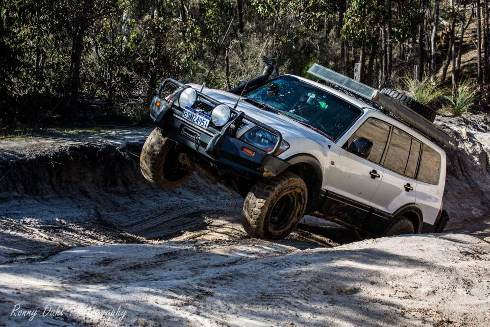 Mitsubishi Pajero NP on the Powerline track, Perth, Western Australia.