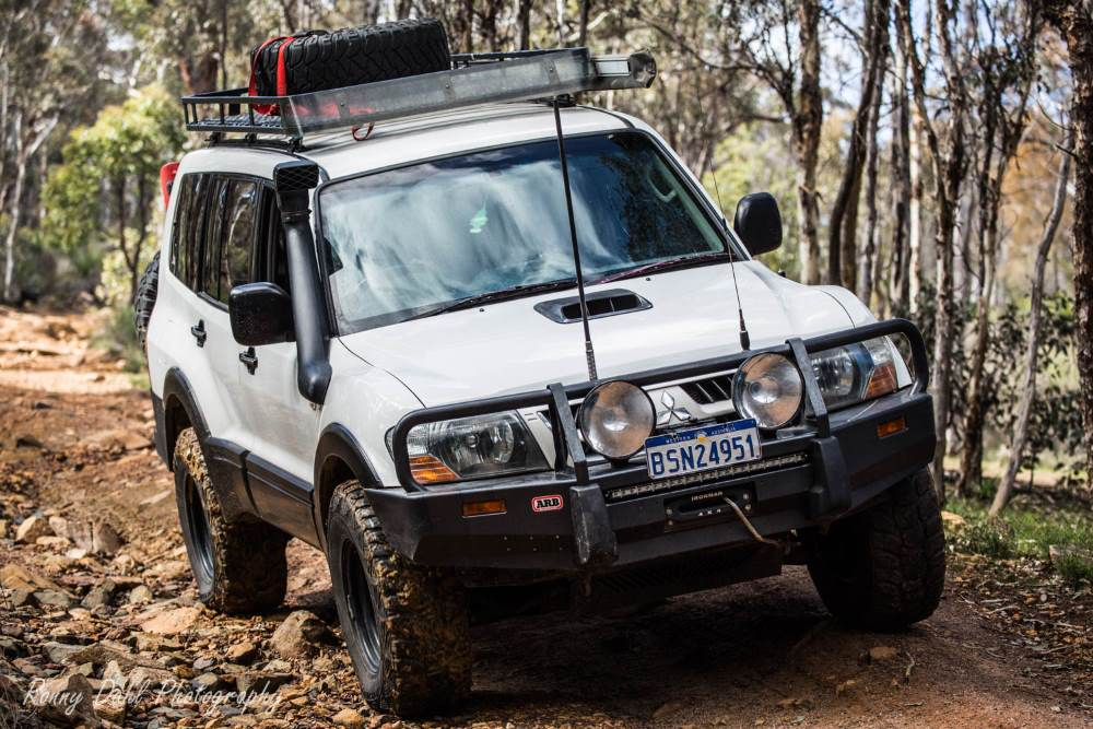 Mitsubishi Pajero NP on the Powerline track, Western Australia.