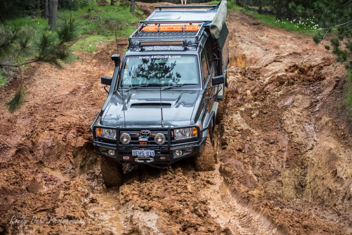 Hill descent at Harvey Dam, Western Australia.