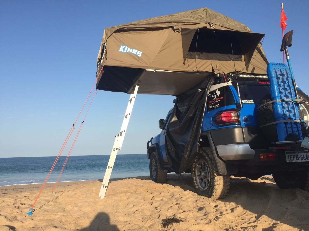 Camping with the rooftop tent.