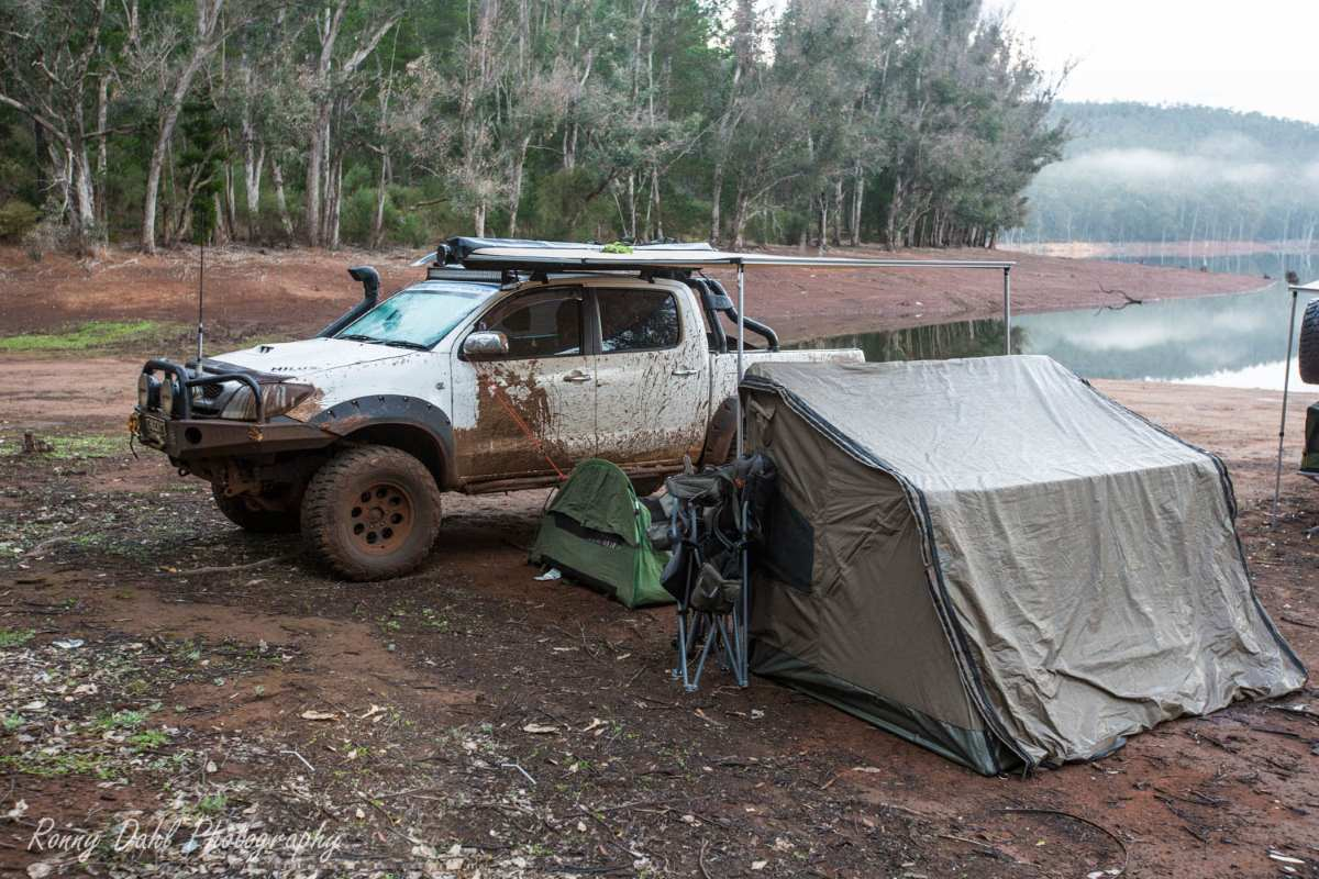 Camp at Harvey Dam, Western Australia.
