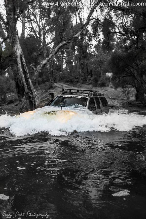 Holden Rodeo crossing Murray River, Western Australia.