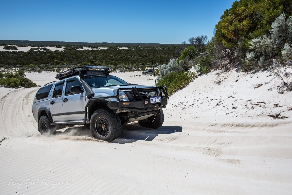 Holden Rodeo on sand tracks.