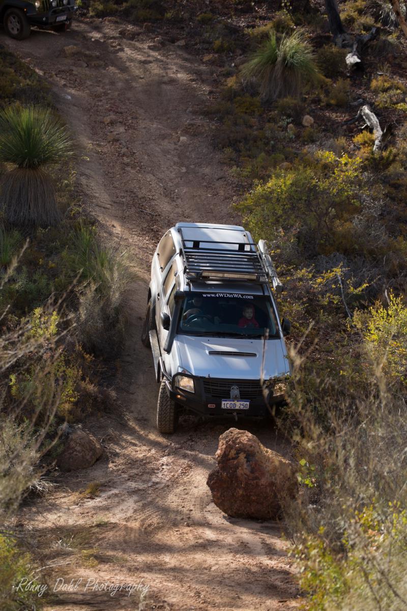 Holden Rodeo doing a hill decent.